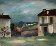 René DUREY - Painting - Paysage urbain à Meudon (?)