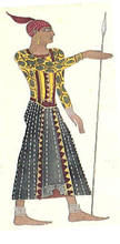 "Léon BAKST - Drawing-Watercolor - Costume design for a Spear Carrier in ""Cleopatre"""