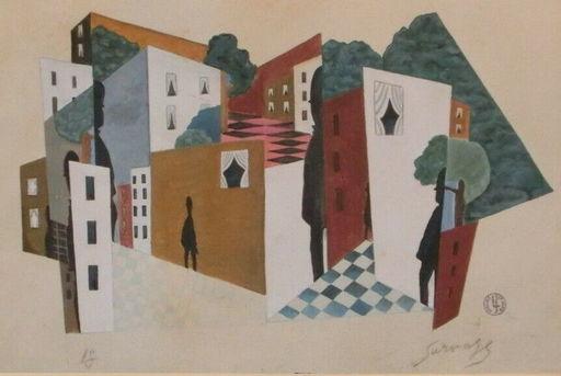Léopold SURVAGE - Drawing-Watercolor - les hommes dans la ville