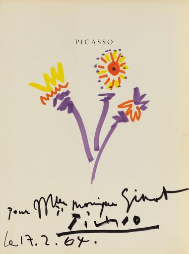 Pablo PICASSO - Dessin-Aquarelle - Fleurs