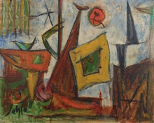 Marcel JANCO - Painting - Intérieur Payssage