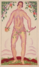 "Josef LACINA - Drawing-Watercolor - ""Eve"", 1926, gouache"