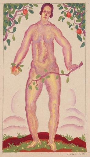 """Josef LACINA - Dibujo Acuarela - """"Eve"""", 1926, gouache"""