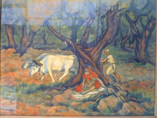 Paul CIROU - Dibujo Acuarela - Sous les oliviers