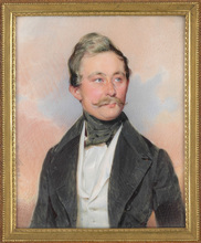 "Karl VON SAAR - Drawing-Watercolor - ""Portrait of a gentleman"" miniature on ivory, ca. 1840"