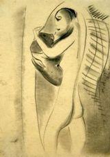 Max ACKERMANN - Dibujo Acuarela - Mädchen mit Hund
