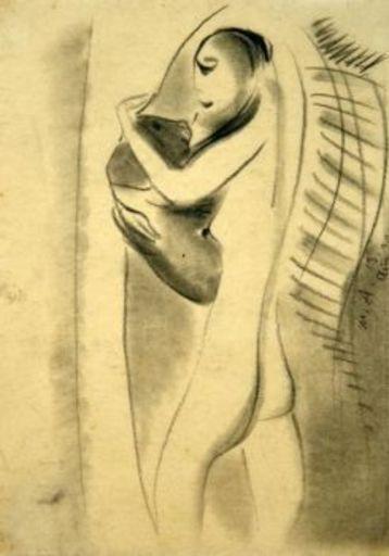 Max ACKERMANN - Drawing-Watercolor - Mädchen mit Hund