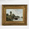 Charles DONZEL - Painting - Embarquement près du lac