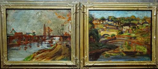 Elie Anatole PAVIL - Pittura - PAIRE de paysages