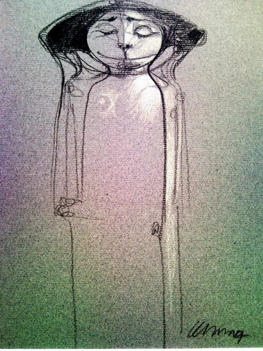 Pedro Pablo OLIVA - Drawing-Watercolor - Muchacha con Ojos Cerrados (Girl with eyes closed)