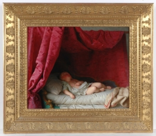 "Anton EINSLE - Gemälde - ""Sleeping Child"", 1854, Oil on Canvas"