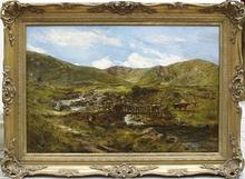 William Joseph Julius Caesar BOND - Pintura - Welsh Landscape with Bridge