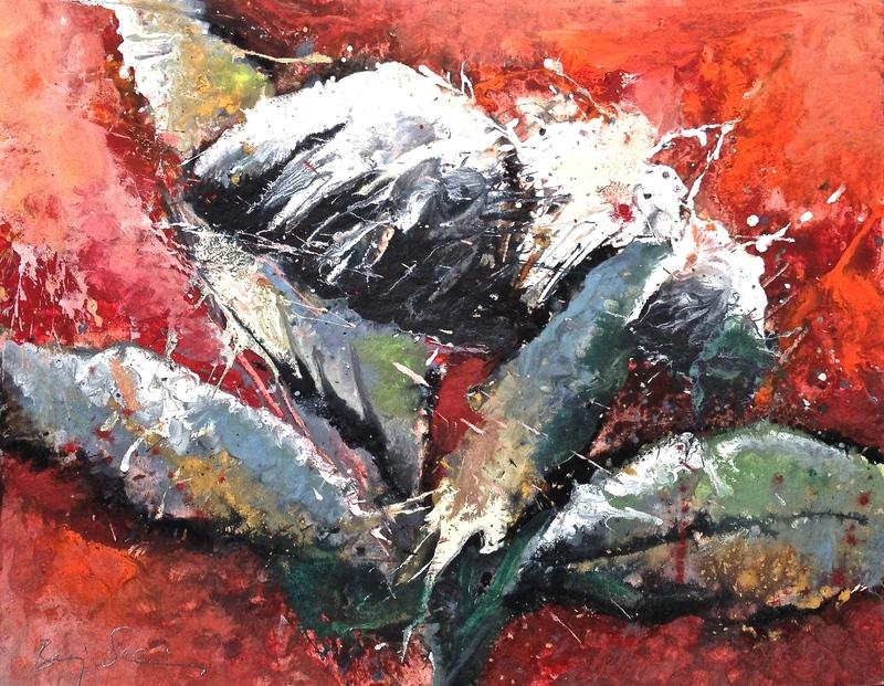 Baruj SALINAS - Dibujo Acuarela - Brote con fondo rojo