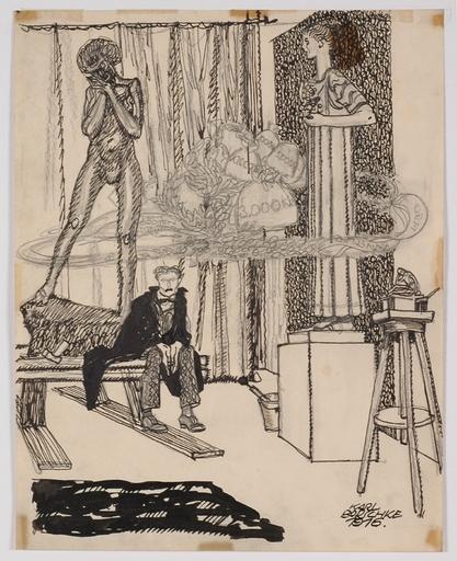 """Karl BORSCHKE - Dessin-Aquarelle - """"Artist's Dream"""" by Karl Borschke"""