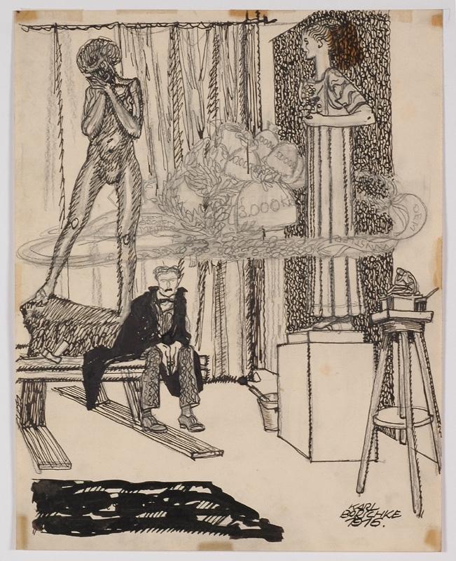 """Karl BORSCHKE - Zeichnung Aquarell - """"Artist's Dream"""" by Karl Borschke"""
