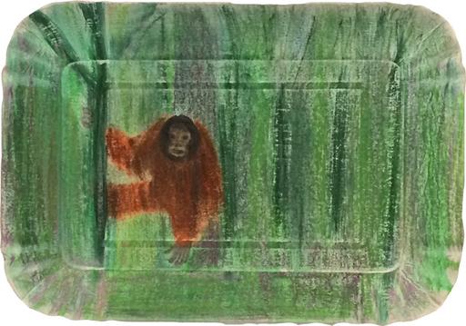 Cécile SAVELLI - Disegno Acquarello - « Orang outang dans la jungle 2 »