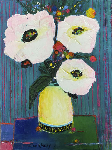 Alain MARY - Painting - 3 fleurs blanches