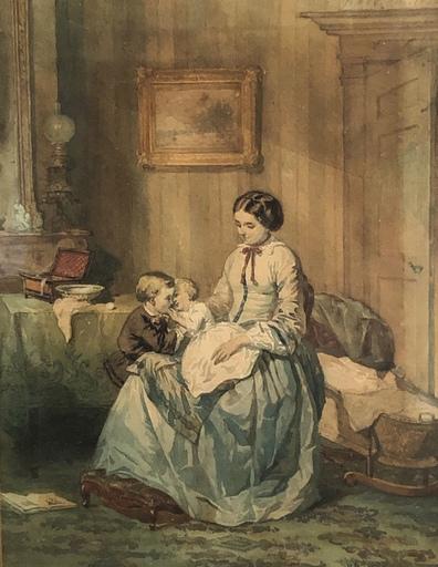 Johannes VETTEN - Disegno Acquarello - Mutter und Kind