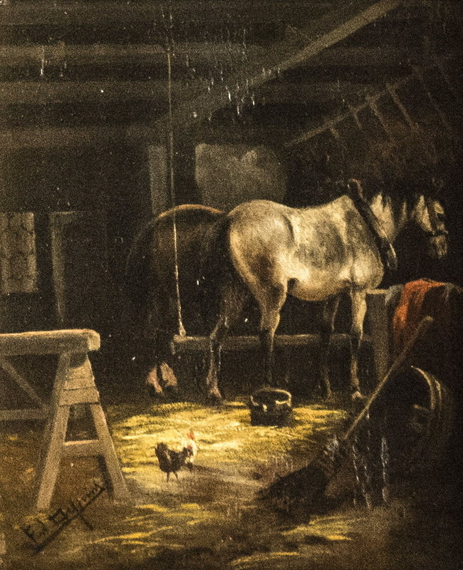Ferdinand DE PRINS - Gemälde - Horse in the barn
