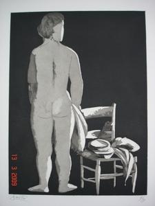Giacomo MANZU - Print-Multiple - Modella con sedia