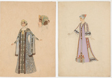 "Rudolf HAFNER - Drawing-Watercolor - ""Two stage costume designs"" watercolors, 1920s"