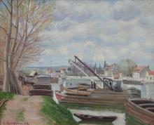 Georges MANZANA-PISSARRO - Peinture - Péniches sur la Seine