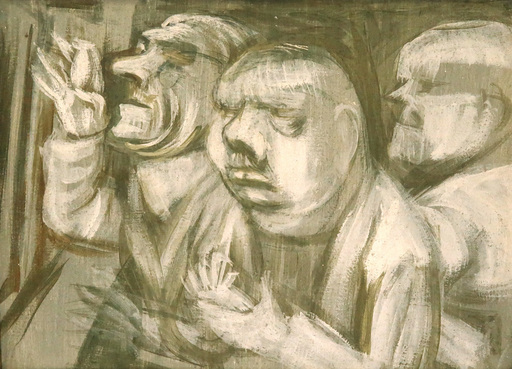 Karl HUBBUCH - Painting - Die Kunstrichter - Die Herren Kritiker