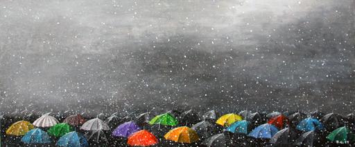 Zurab GIKASHVILI - Peinture - Umbrellas. Snow