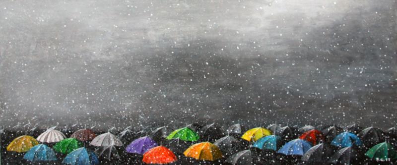 Zurab GIKASHVILI - Pittura - Umbrellas. Snow