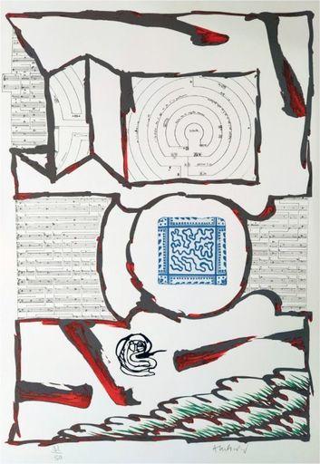 Pierre ALECHINSKY - Estampe-Multiple - Chutes et panaches, avec extraits de partitions labyrinthiqu