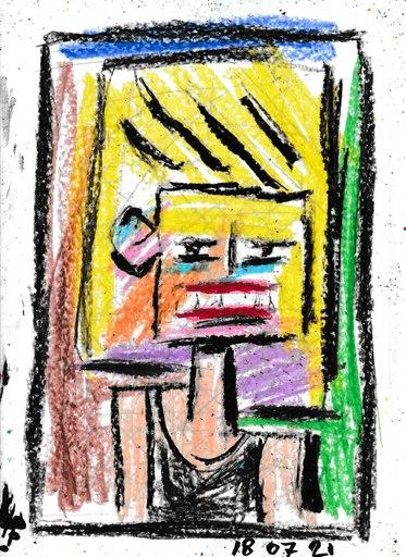 Harry BARTLETT FENNEY - Drawing-Watercolor - blonde hair black vest  #1 (18 07 21)