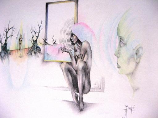 Serge BARTY - Dessin-Aquarelle - ¨PAR LA FENÊTRE