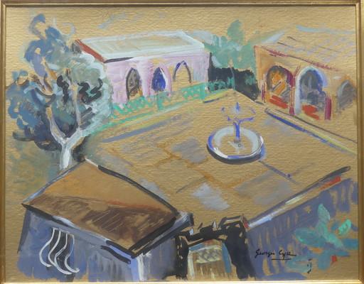Georges Albert CYR - Dibujo Acuarela - La cour à la fontaine