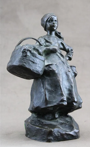 Ruth Anna Maria MILLES - Sculpture-Volume - Jeune bretonne au panier