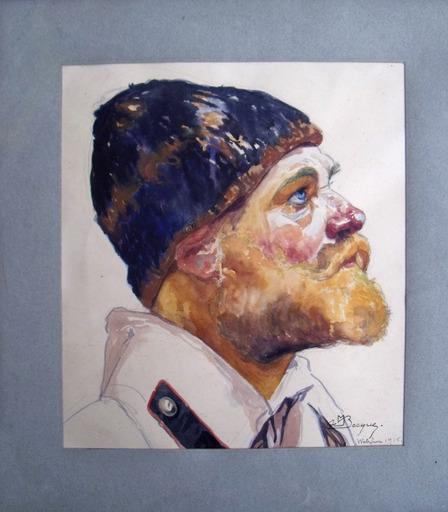 Maurice Jaubert DE BECQUE - Dibujo Acuarela - Prisonnier de guerre russe à Wetzlar