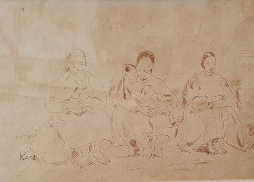Georges KARS - Zeichnung Aquarell - Mothers and Children