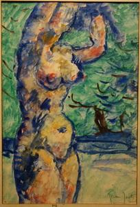 "Jules Arthur JOETS - Drawing-Watercolor - ""Femme Nue"""
