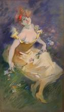 Jules CHÉRET - Dessin-Aquarelle - La Guirlande de Fleurs