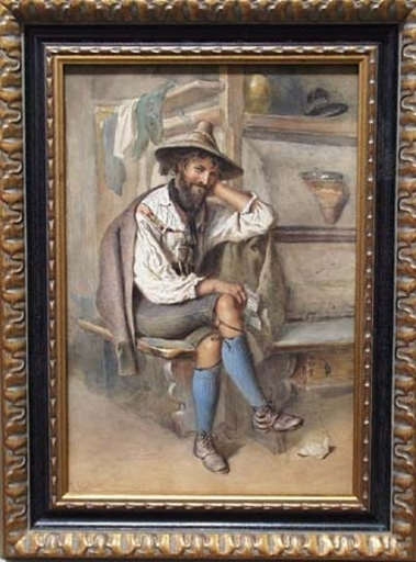 "Carl GOEBEL - Drawing-Watercolor - ""Love Letter"" by Carl Goebel, 19th Century"