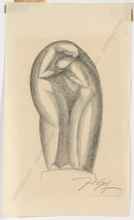 """Ferdinand OPITZ - Dibujo Acuarela - """"Project for a monument"""", charcoal drawing, 1920s"""
