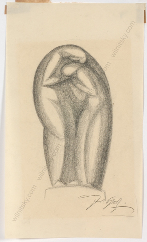 "Ferdinand OPITZ - Dibujo Acuarela - ""Project for a monument"", charcoal drawing, 1920s"