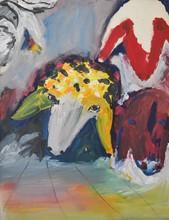 Menashe KADISHMAN - Painting - * Three Sheep, Oil on Canvas, 45 x 35