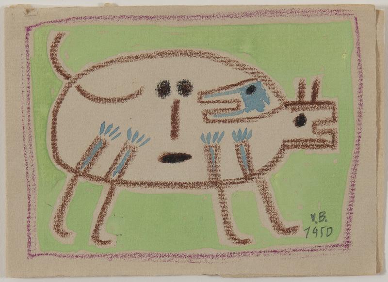 Victor BRAUNER - Disegno Acquarello - Dog