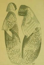 Béla KADAR - Dibujo Acuarela - Two Figures