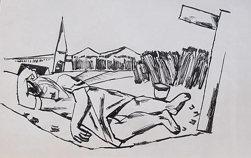 Erich HARTMANN - Disegno Acquarello - Schlafend vor der Stadt-