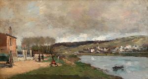 Albert Marie LEBOURG - Painting - Village et Promeneurs en Bord de Seine