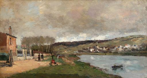 Albert Marie LEBOURG - Peinture - Village et Promeneurs en Bord de Seine