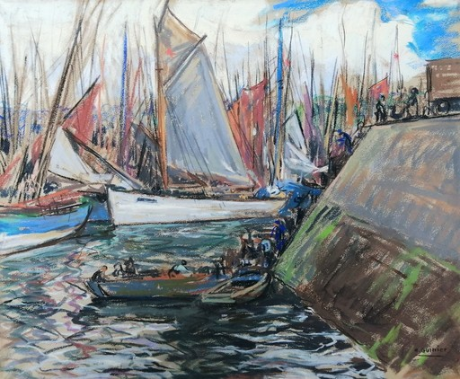 Henri jules GUINIER - Drawing-Watercolor - retour de la flottille de pêche à Concarneau