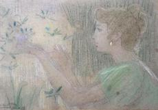 Armand POINT - Dessin-Aquarelle - Young Lady with butterflies