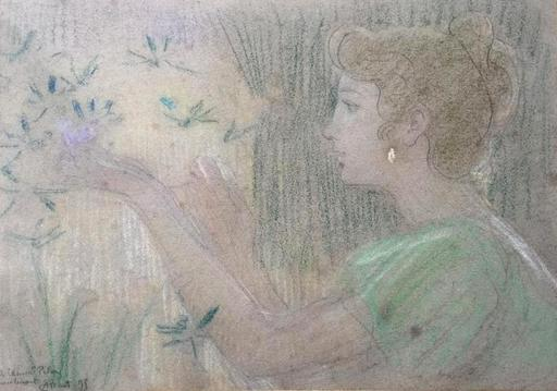 Armand POINT - Dibujo Acuarela - Young Lady with butterflies